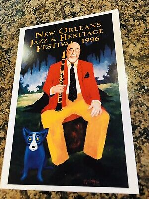 1996 New Orleans Jazz Fest Postcard Pete Fountain Artist by George Rodrigue