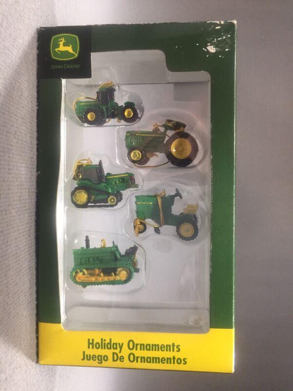 """5 Enesco Miniature John Deere Tractor Ornaments 1 1/4"""" - 1 1/2"""""""