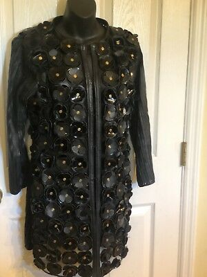 Caban Romantic Daisy Coat Made In Italy Leather Lace Long  Sz XS/S $1250 for sale  Mason
