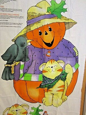 Pumpkins on Parade Cut & Sew Fabric Panel Door Decor Halloween Crafts Kitty Crow](Halloween Door Decorations Crafts)