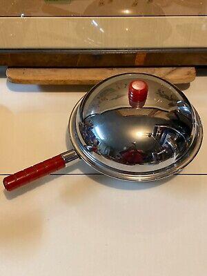 Vintage Art Deco Red Bakelite Handle Lidded Skillet