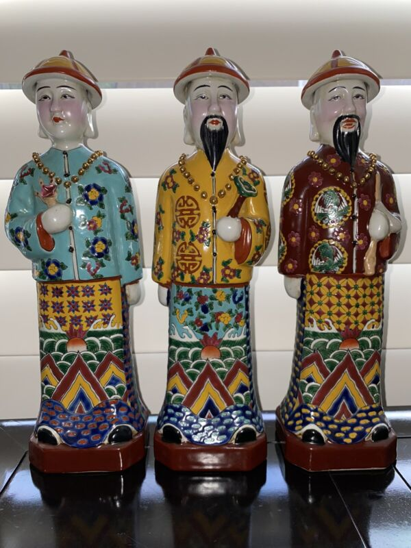 RARE Set of 3 Antique Chinese Porcelain Figurines Qing Dynasty Emperor Statues