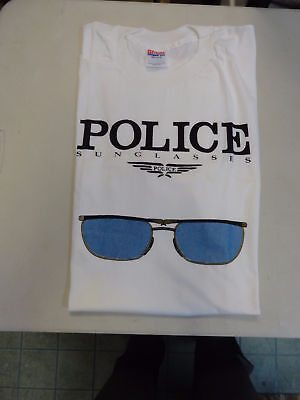New Hanes Police Sunglasses Men's T-Shirt Rare Tee 100% Cotton XL Made In (Police Sunglasses Usa)