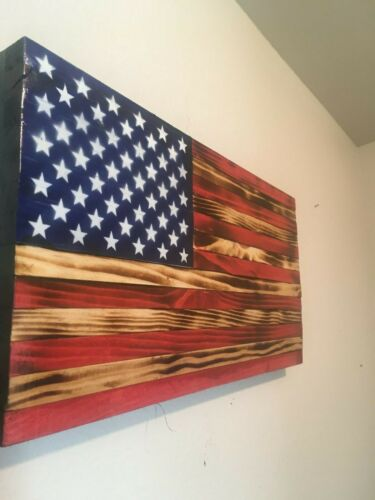 Rustic Wooden American Flag  Torched Wood