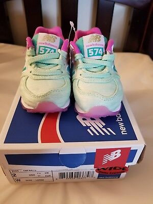 New Balance574 baby girl shose/ lime green pink/ size 2 (Girls Shose)