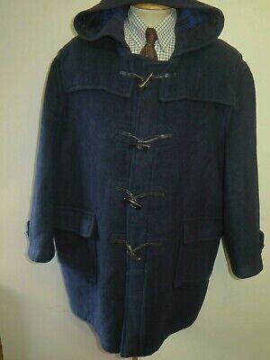"Genuine Burberry Wool Duffle Duffel Coat Raincoat XL 46"" Euro 56 Navy Blue"