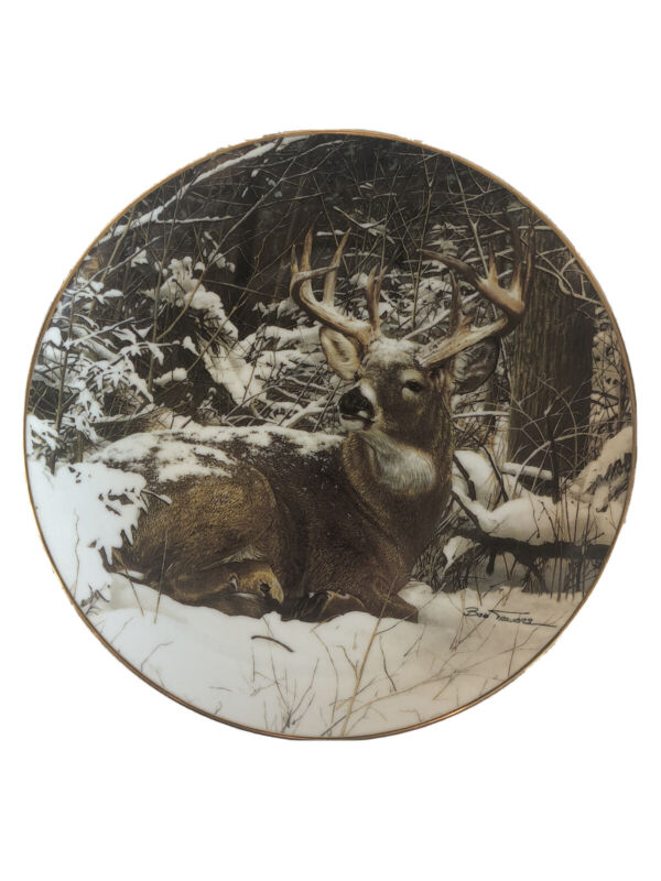 """Danbury Mint 1992 """"Winter Stag"""" by Bob Travers Limited Edition Collectors Plate"""