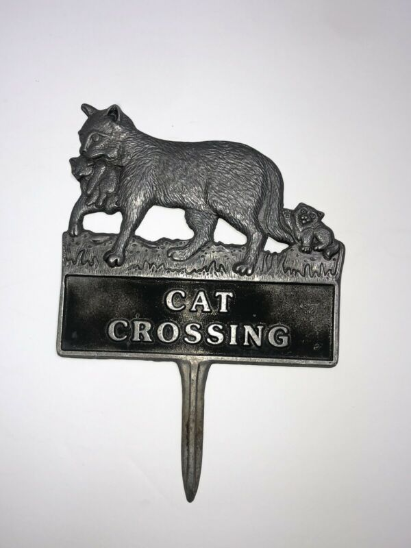 Vintage Cat Kitty Crossing Cast Pewter Cat Yard Sign Mother With Kitten Stake