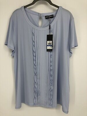 Karl Lagerfeld Paris Womens Blouse Size XL Light Blue Short Sleeve New With Tags