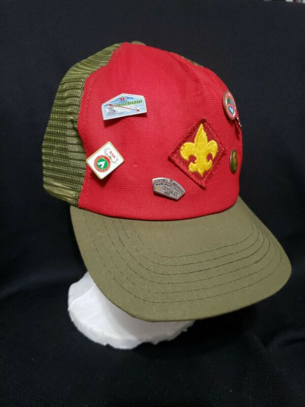 Vintage Boy Scouts Of America Snapback Hat Cap Patch M/L Green Red with Pins