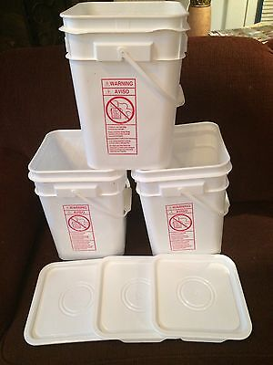 4 SQUARE BUCKETS(4or4-1/4GAL)STEAM CLEANED /BEAUTIFUL ,FOOD GRADE W/LIDS HANDLES