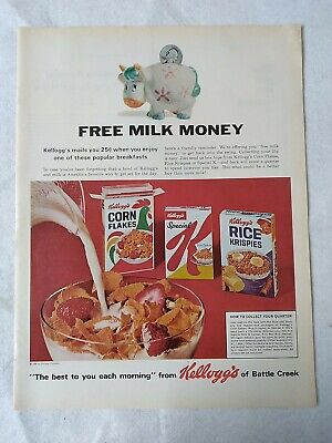 "Vintage Advertising 14"" x 10.5"" Ad 1966 Kellogg's Cereal Corn Flakes Rice Krisp"
