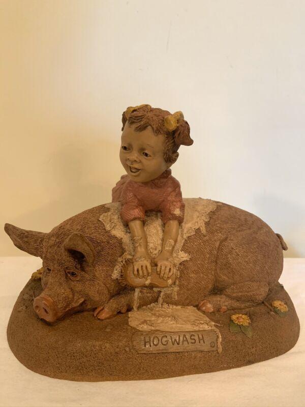 Vintage HOGWASH FIGURINE GIRL SCRUBBING PIG - RETIRED 1994 MOLD #44 WOLFE/CLARK