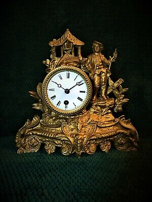 Antique Victorian Gilt French Mantle Clock