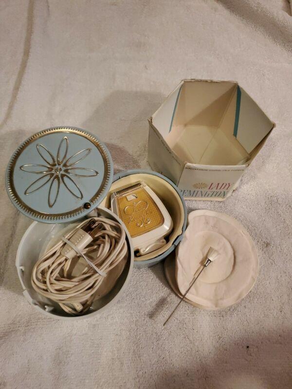 Vintage Lady Remington Electric Shaver #263 Gold w/ Case, Accessories, Box