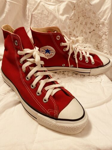 Vintage Converse 90's NEW! All Star Chuck Taylor High Top Red MADE In USA! 7.5