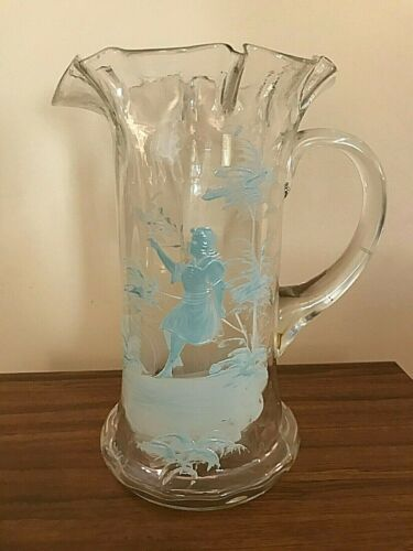 """VINTAGE HANDMADE GLASS PITCHER WITH MARY GREGORY PAINTING - 9.5"""""""