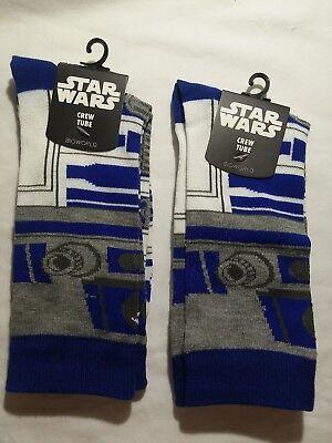 R2d2 Star Wars Crew Socks Adult Size 6 12 Sock Size 10 13 R2d2  2Pair