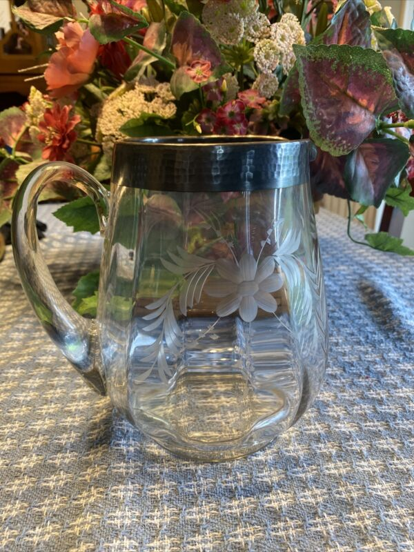 Antique Engraved Glass Pitcher Sterling Silver Overlay On Rim
