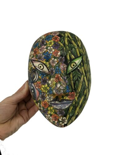 Mask Carver Sri Asmara Ib Sutarja Mas Bali Floral Print Multicolor Painted Wall