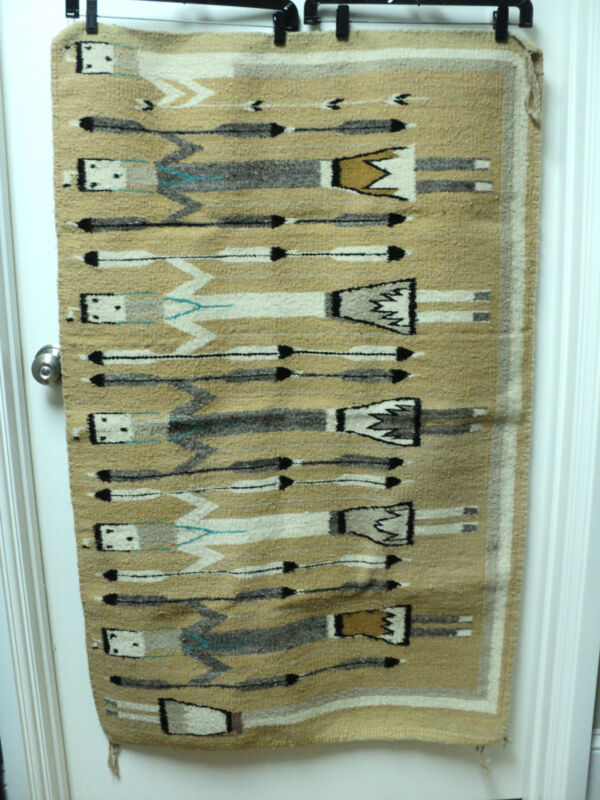 """VINTAGE """"YEI"""" FIGURAL DECORATED NAVAJO RUG, SHIPROCK, NEW MEXICO, 32"""" x 48"""""""
