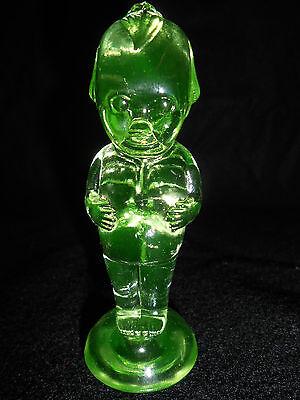 GREEN Vaseline glass Kewpie cupie doll uranium girl figurine child canary yellow