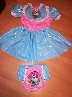 Adult Gummi (Adult Baby Kleid Windelhose Gummihose Sissy PVC LACK Diaper Plastik EINHORN XL)
