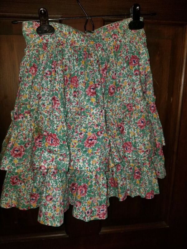 VINTAGE FLORAL RUFFLED GATHERED LAYERED TIERED SKIRT FOR GIRLS HAND MADE heavy