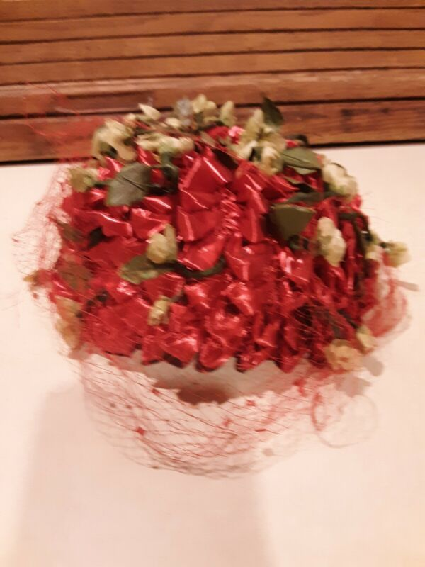 Unique Vintage Hat Bonnet- Red Ribbon W/ Silk Flowers And Netting- Dayne Taylor