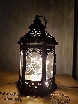 Dark Black/Bronze Metal Lantern/Decor/Wedding/Centerpiece with LED Lighting!