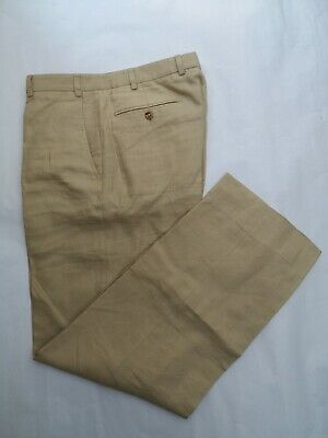 Exc Cond Zanella 34 x 30.5 Tan Linen Trousers Made in Italy similar to Incotex