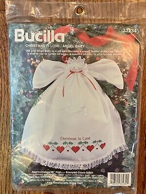 Vtg Bucilla Stamped Cross Stitch Kit CHRISTMAS IS LOVE ANGEL BABY 15