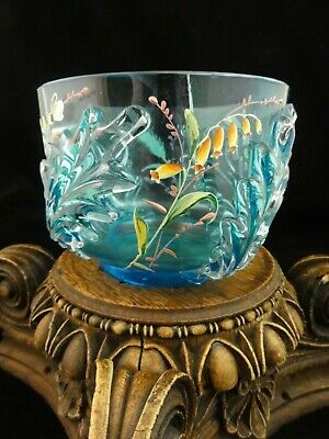 Antique Fenton Celeste Blue Stretch Glass Candy Bowl Flared Ruffled Edge Iridescent Satin Blue Early Fenton Art Glass Candle Holder Nut Dish