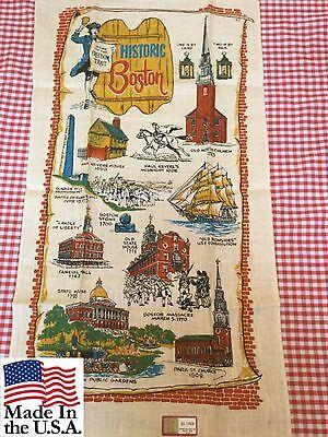 Vintage Tea Towel All Linen Historic Boston Stevens New with Tag USA