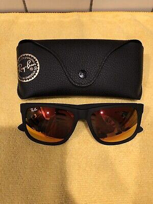 Ray-Ban Justin Sunglasses Matte Black Frame And Red Mirror Lens RB4165 54MM (Red And Black Frame)