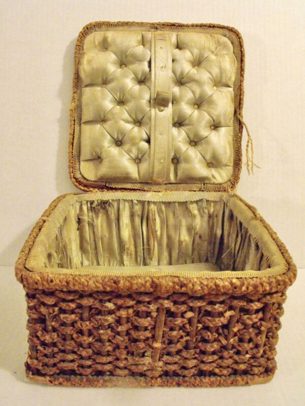 Antique 19th century German Silk Sewing Basket Tufted Silk Lining