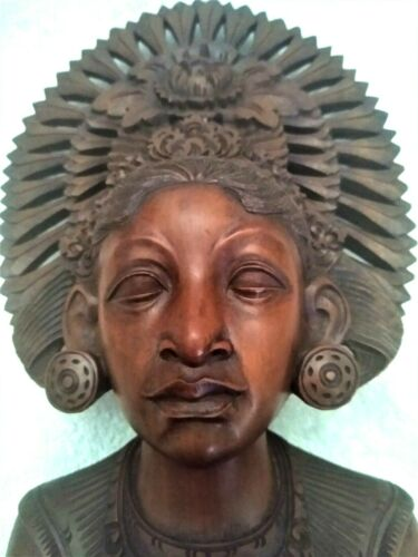 Vintage Hand Carved Wood Sculpture of Woman