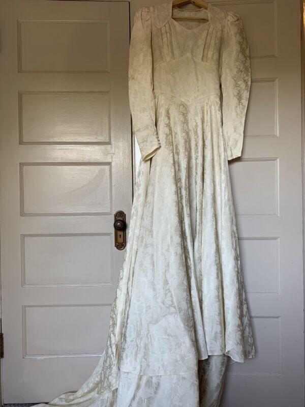 Vintage 1940's Wedding Gown 40's Bridal Brocade Satin Long Train S