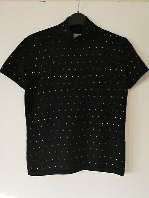 Jones new York ladies black sparkly studded 100% wool t shirt top size M vgc
