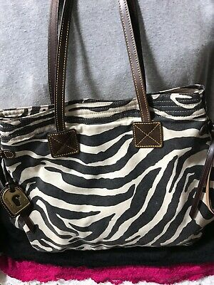 Dooney & Bourke Black & White Zebra Multi Canvas Leather Carryall Snap HoboTote  for sale  Shipping to India