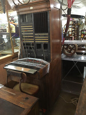 ANTIQUE 1922 TELEPHONE SWITCHBOARD-BELL SYSTEM-WESTERN ELECTRIC-COMPLETE-w/CHAIR
