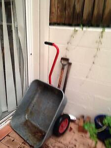 Galvanised metal pull along wheelbarrow with inflated tyres. Taringa Brisbane South West Preview