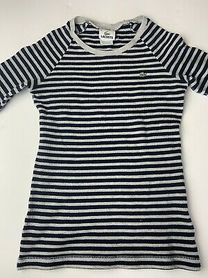 Lacoste Girl Thermal Knit Long Sleeved Striped Grey &Navy Blue Shirt Size 36