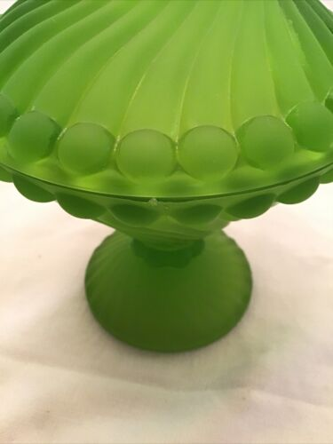 Vtg WESTMORELAND Glass SWIRL BALL Candy Dish GREEN SATIN 8.5  - $50.00