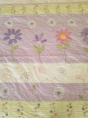 Lilac Garden Full Quilt (NEW POTTERY BARN KIDS FLOWER GARDEN LAVENDER GREEN PINK FULL QUEEN QUILT  )