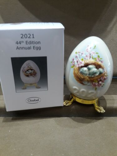 GOEBEL,  2021 ANNUAL EGG, 44TH EDITION, MOTIF-CHICKS IN NEST, FREE USPS SHIP