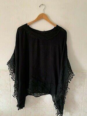 Plus Size Poncho (Kimono Top Poncho sleeve Crochet Lace Plus Size Women Woven Viscose Black,)