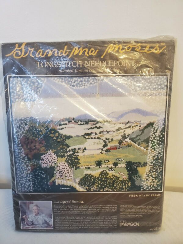 Rare Grandma moses longstitch needlepoint 1983 from the window