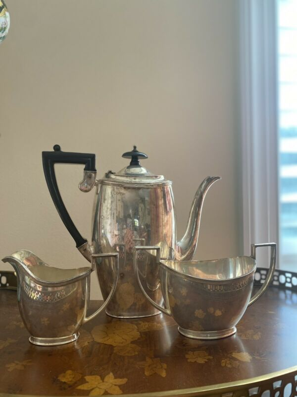 Vintage Art Deco Made In England Sheffield TF Silverplate Coffee Set