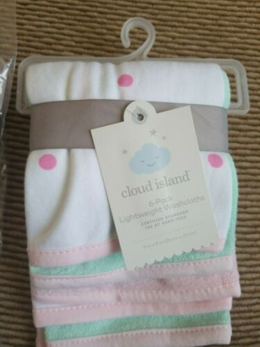 New Infant Cloud Island Pink Lightweight Washcloth 6 pack